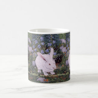 Conejo blanco, conejo blanco, conejo blanco, taza de café