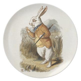 Conejo blanco de Alicia en arte del vintage del Plato De Cena