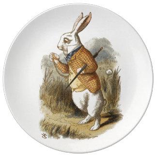 Conejo blanco de Alicia en arte del vintage del Plato De Cerámica