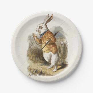 Conejo blanco de Alicia en arte del vintage del Plato De Papel De 7 Pulgadas