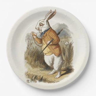 Conejo blanco de Alicia en arte del vintage del Plato De Papel De 9 Pulgadas