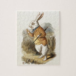 Conejo blanco de Alicia en arte del vintage del Puzzle