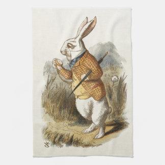 Conejo blanco de Alicia en arte del vintage del Toalla De Mano