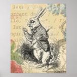 Conejo blanco de Alicia en el país de las maravill Posters