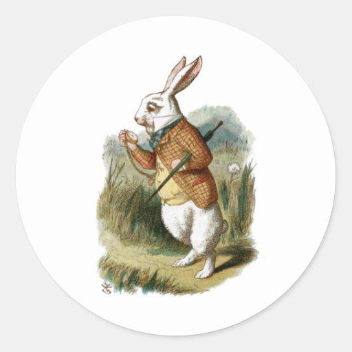 Conejo blanco de Alicia en el país de las Pegatina Redonda