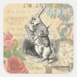 Conejo blanco de Alicia en el país de las Pegatina Cuadrada