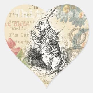 Conejo blanco de Alicia en el país de las Pegatina En Forma De Corazón