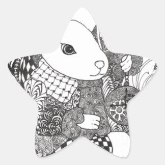 Conejo blanco de Zentangled de Alicia en el país Pegatina En Forma De Estrella