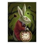 Conejo blanco del vampiro tarjeton