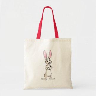 Conejo blanco derecho bolsa tela barata