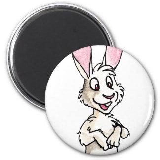 Conejo blanco derecho imán redondo 5 cm