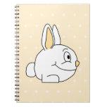 Conejo blanco, en patten. beige del lunar libretas