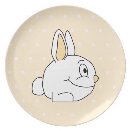 Conejo blanco, en patten. beige del lunar platos