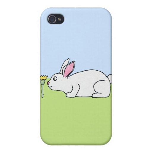 Conejo blanco. En un césped iPhone 4 Cobertura
