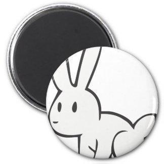 Conejo blanco joven y lindo iman para frigorífico
