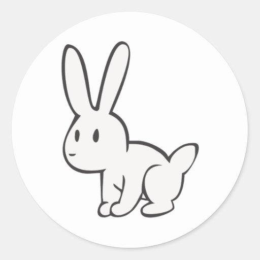 Conejo blanco joven y lindo pegatina redonda