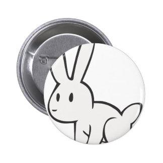 Conejo blanco joven y lindo pin redondo 5 cm