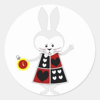 Conejo blanco - las aventuras de Alicia en el país Etiquetas Redondas