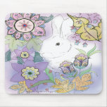 Conejo blanco, mousepad violeta del jardín tapetes de ratón