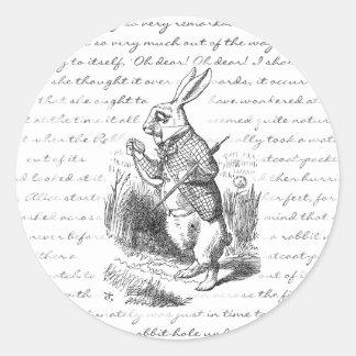 ¡Conejo blanco - oh! ¡Oh! ¡Seré atrasado! Pegatina Redonda