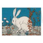 Conejo blanco Pascua del vintage elegante Felicitacion
