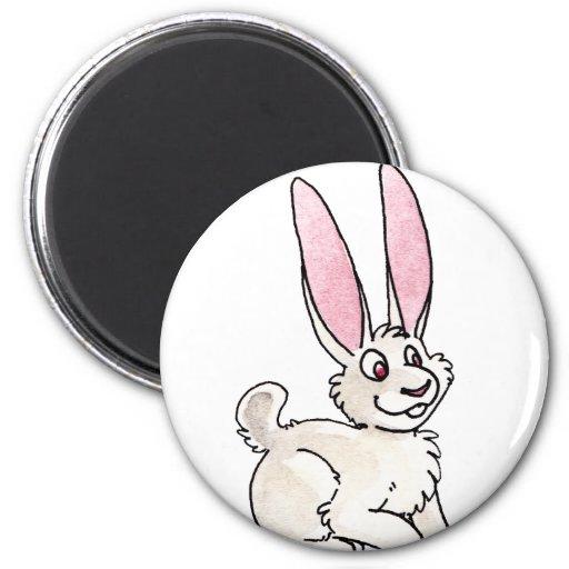 Conejo blanco que se sienta imán para frigorífico