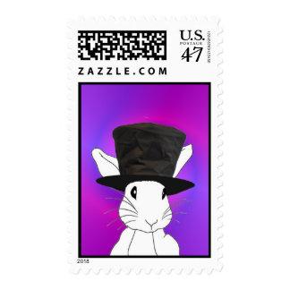 Conejo blanco sello postal