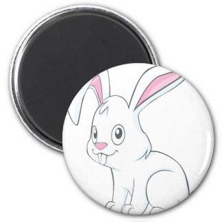 Conejo blanco sonriente imanes