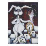 Conejo blanco tarjeta