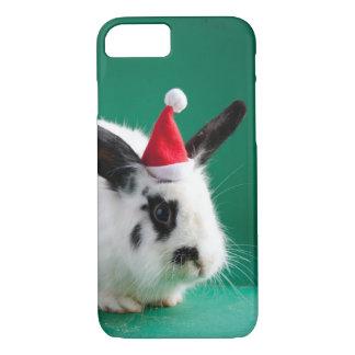 Conejo blanco y negro en gorra del navidad funda iPhone 7