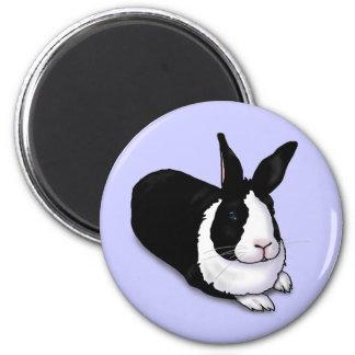 Conejo blanco y negro imanes para frigoríficos