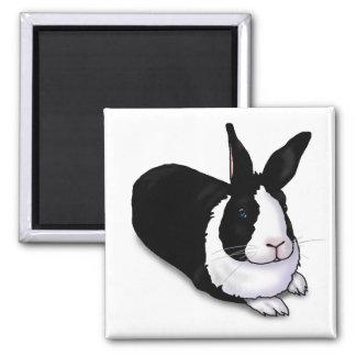 Conejo blanco y negro imán cuadrado