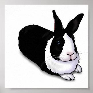 Conejo blanco y negro posters