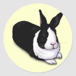Conejo blanco y negro pegatinas redondas