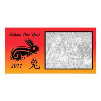 Conejo chino del photocard del Año Nuevo Tarjeta Personal