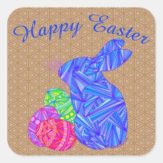 Conejo colorido azul de los huevos de Pascua del Pegatina Cuadrada