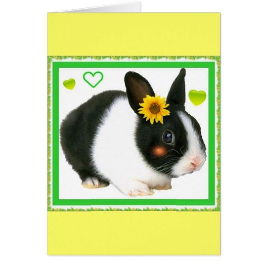 conejo con el girasol tarjeta de felicitación