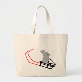 conejo con el icono del trineo largo bolsa tela grande