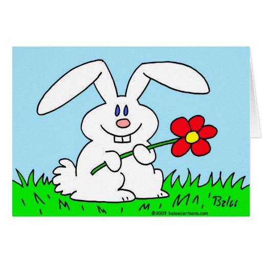 conejo con la flor felicitación