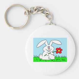 conejo con la flor llaveros personalizados