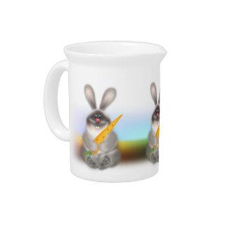 Conejo con la zanahoria jarras
