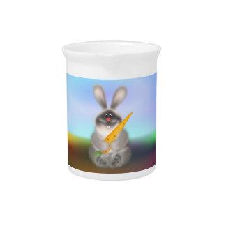 Conejo con la zanahoria jarras de beber