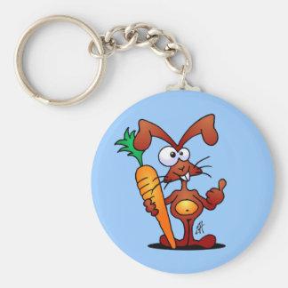 Conejo con la zanahoria llavero redondo tipo pin