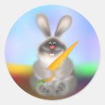 Conejo con la zanahoria pegatina redonda
