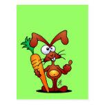 Conejo con la zanahoria postal