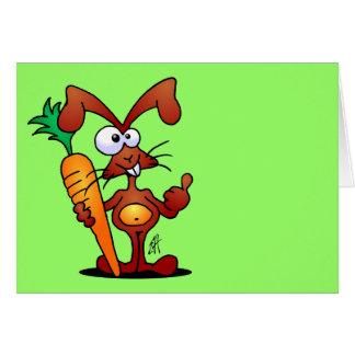 Conejo con la zanahoria tarjeta de felicitación