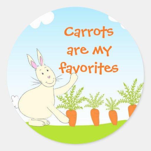 Conejo con las zanahorias - pegatina