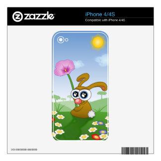 Conejo con los ojos grandes que se sientan en skins para eliPhone 4