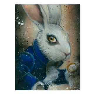 Conejo de Alicia en postal del país de las maravil