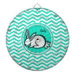 Conejo de conejito; Aguamarina Chevron verde Tablero De Dardos